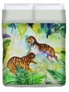Courting Tigers. Duvet Cover by Larry  Johnson