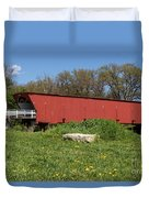 Covered Bridge Across The River Duvet Cover