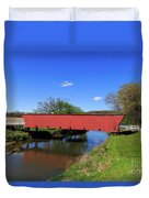 Covered Bridge And Reflection Duvet Cover