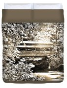 Covered Bridge At Lanterman's Mill Black And White Duvet Cover
