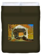 Covered Bridge Impasto Oil Duvet Cover