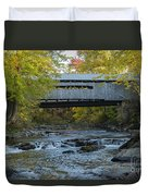 Covered Bridge Over Brown River Duvet Cover