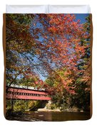 Covered Bridge Over The Swift River In Conway Duvet Cover