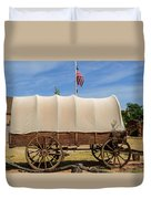 Covered Wagon At Fort Bluff Duvet Cover
