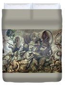 Covered Wagon Attacked By Indians Duvet Cover