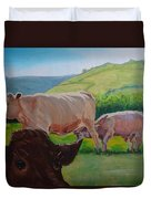 Cow And Calf Painting Duvet Cover