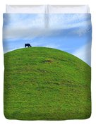 Cow Eating On Round Top Hill Duvet Cover by Mike McGlothlen