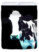 Cow In A Black World Duvet Cover