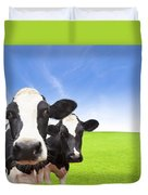 Cow On Green Grass Field Duvet Cover