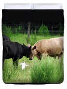 Cow Playing Head Games Duvet Cover