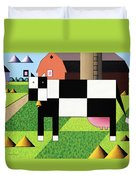 Cow Squared With Barn Big Duvet Cover