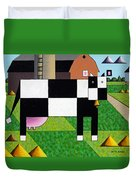 Cow Squared With Barn Left Duvet Cover