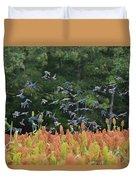Cowbirds In Flight Over Milo Fields In Shiloh National Military Park Duvet Cover