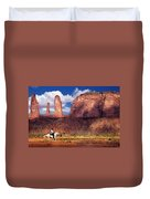 Cowboy And Three Sisters Duvet Cover
