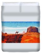 Cowboy At Monument Valley In Utah - Da Duvet Cover