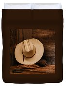 Cowboy Hat And Gear Duvet Cover