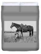 Cowboy, His Horse And Dog Duvet Cover