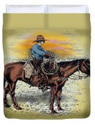 Cowboy N Sunset Duvet Cover