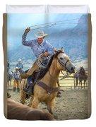 Cowboy Roping A Steer Duvet Cover