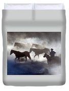 Cowboy Rounding Up Four Horses Duvet Cover