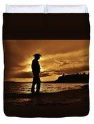 Cowboy Silhouette At Wilson Lake In Kansas Duvet Cover
