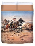 Cowboys Roping A Steer Duvet Cover