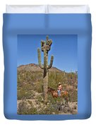 Cowgirl And The Crested Saguaro Duvet Cover