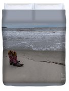 Cowgirl Day At Beach Duvet Cover