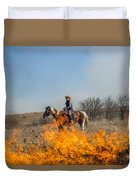 Cowgirl Watching Over Burn Duvet Cover