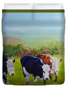 Cows And English Landscape Duvet Cover