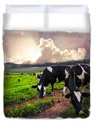 Cows At Sunset Bordered Duvet Cover