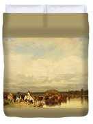 Cows Crossing A Ford 1836 Duvet Cover