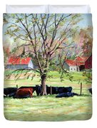 Cows Grazing In One Field  Duvet Cover