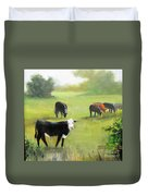 Cows In Pasture Duvet Cover