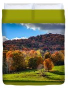 Cows In Pomfret Vermont Fall Foliage Duvet Cover