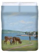 Cows On The Banks Of The Seine At Saint Mammes Duvet Cover
