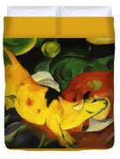 Cows Yellow Red Green 1912 Duvet Cover