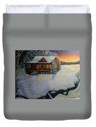 Cozy Winter Cabin  Duvet Cover