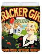 Cracker Girl Citrus Crate Label C. 1920 Duvet Cover