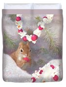 Cranberry Garlands Christmas Squirrel Duvet Cover