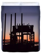 Crane At Sunset Duvet Cover