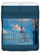 Crane Reflection - Atlantic City Duvet Cover