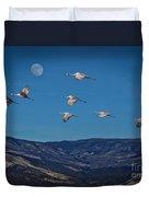 Cranes Across Colorado Blue Duvet Cover
