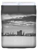 Cranes At The Port Of Thessaloniki Duvet Cover