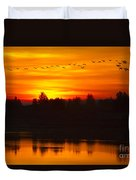 Cranes In The Morn Duvet Cover