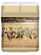 Cranes In The Morning Mist Duvet Cover