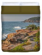 Crashing Waves At Otter Cliff Duvet Cover