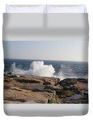 Crashing Waves On Maine Coast Rocks  Duvet Cover
