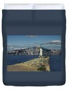 Crater Lake - A Most Sacred Place Among The Indians Of Southern Oregon Duvet Cover by Christine Till