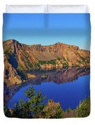 Crater Lake Morning Reflections Duvet Cover